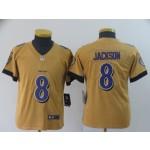 NFL Youth Ravens Lamar Jackson #8 Gold Inverted Legend Jersey