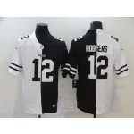 NFL Green Bay Packers #12 Aaron Rodgers Men's Black V White Peace Split Nike Vapor Untouchable Limited Jersey