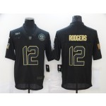 Nike Packers #12 Aaron Rodgers Black 2020 Salute To Service Limited Jersey