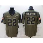 Carolina Panthers #22 Christian McCaffrey 2021 Olive Salute To Service Limited Jersey