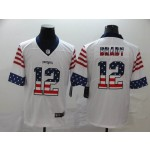 NFL New England Patriots #12 Tom Brady White Salute To Service USA Flag Fashion Limited Jersey