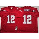 NFL Patriots #12 Tom Brady Red M&N Throwback Jersey