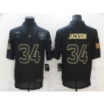 Nike Raiders #34 Bo Jackson Black 2020 Salute To Service Limited Jersey
