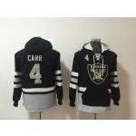 NFL Oakland Raiders #4 Derek Carr Black All Stitched Hooded Sweatshirt