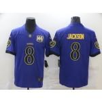 Nike Ravens #8 Lamar Jackson Purple Gold Vapor Untouchable Limited Jersey