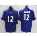 Men's Baltimore Ravens #12 Rashod Bateman Purple 2021 Vapor Untouchable Stitched Jersey