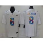 Baltimore Ravens #8 Lamar Jackson White Rainbow Vapor Limited Jersey