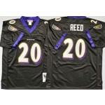 NFL Ravens #20 Ed Reed Black M&N Throwback Jersey