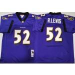 NFL Ravens #52 Ray Lewis Purple M&N Throwback Jersey