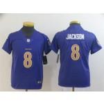 Youth Baltimore Ravens #8 Lamar Jackson Purple Color Rush Limited Jersey