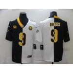 Nike Saints #9 Drew Brees Black And White Split C Patch Vapor Untouchable Limited Jersey