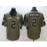New Orleans Saints #2 Jameis Winston 2021 Olive Salute To Service Limited Jersey
