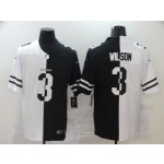 NFL Seattle Seahawks #3 Russell Wilson Men's Black V White Peace Split Nike Vapor Untouchable Limited Jersey