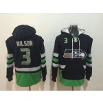 NFL Seattle Seahawks #3 Russell Wilson Navy Blue All Stitched Hooded Sweatshirt