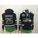 NFL Seattle Seahawks #25 Richard Sherman Navy Blue All Stitched Hooded Sweatshirt