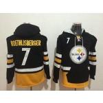 NFL Pittsburgh Steelers #7 Ben Roethlisberger black All Stitched Hooded Sweatshirt