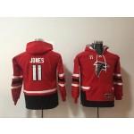 Youth Atlanta Falcons #11 Julio Jones Red All Stitched Hooded Sweatshirt