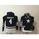 Youth Dallas Cowboys #4 Dak Prescott Blue All Stitched Hooded Sweatshirt