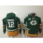 Youth Green Bay Packers #12 Aaron Rodgers green All Stitched Hooded Sweatshirt