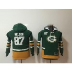 Youth Green Bay Packers #87 Jordy Nelson green All Stitched Hooded Sweatshirt