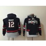 Youth New England Patriots #12 Tom Brady Blue All Stitched Hooded Sweatshirt