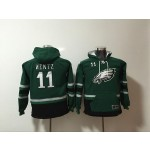 Youth Philadelphia Eagles #11 Carson Wentz Green All Stitched Hooded Sweatshirt
