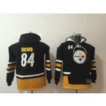 Youth Pittsburgh Steelers #84 Antonio Brow black All Stitched Hooded Sweatshirt