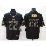 NFL Titans #22 Derrick Henry Black Gold Vapor Untouchable Limited Jersey