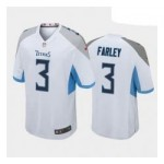 Men's Tennessee Titans #3 Caleb Farley White Blue 2021 NFL Draft Vapor Limited Jersey