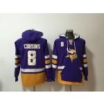 NFL Minnesota Vikings #8 Kirk Cousins Purple All Stitched Hooded Sweatshirt