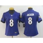 NFL Women Ravens Lamar Jackson #8 Purple Jersey