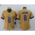 NFL Women Ravens Lamar Jackson #8 Gold Inverted Legend Jersey