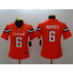 NFL Women Browns Baker Mayfield #6 Orange jersey