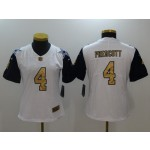 NFL Women Cowboys Prescott #4 white Thanksgiving golden number Jersey