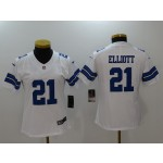 NFL Women Dallas Cowboys Ezekiel Elliott #21 White Jersey