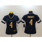 NFL Women Dallas Cowboys Dak Prescott #4 Blue golden number Jersey