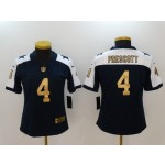 NFL Women Cowboys Prescott #4 Blue Thanksgiving golden number Jersey