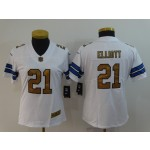 NFL Women Dallas Cowboys Ezekiel Elliott #21 White golden number Jersey