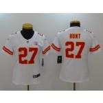 NFL Women Chiefs Kareem Hunt #27 White Jersey