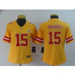 NFL Women Chiefs Mahomes #15 Gold Inverted Legend Jersey