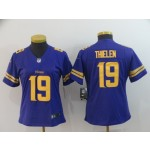 NFL Women Minnesota Vikings Adam Thielen #19 purple Gold number Jersey
