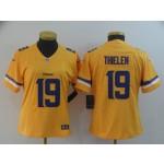 NFL Women Minnesota Vikings Adam Thielen #19 Gold Inverted Legend Jersey