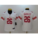 NFL Women New York Giants Saquon Barkley #26 White Jersey