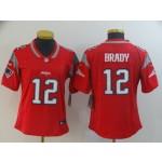 NFL Women New England Patriots Tom Brady #12 Red with grey Jersey