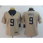 NFL Women New Orleans Saints Drew Brees #9 Gold Inverted Legend Jersey