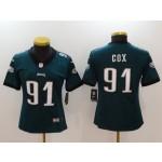 NFL Women Philadelphia Eagles Fletcher Cox #91 Green Jersey