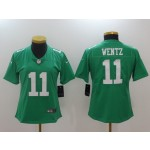 NFL Women Philadelphia Eagles Carson Wentz #11 Light Green Jersey