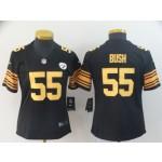 NFL Women Steelers Devin Bush #55 black yellow number Jersey