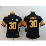 NFL Women Steelers Conner #30 black yellow number Jersey