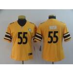 NFL Women Steelers Devin Bush #55 Gold Inverted Legend Jersey